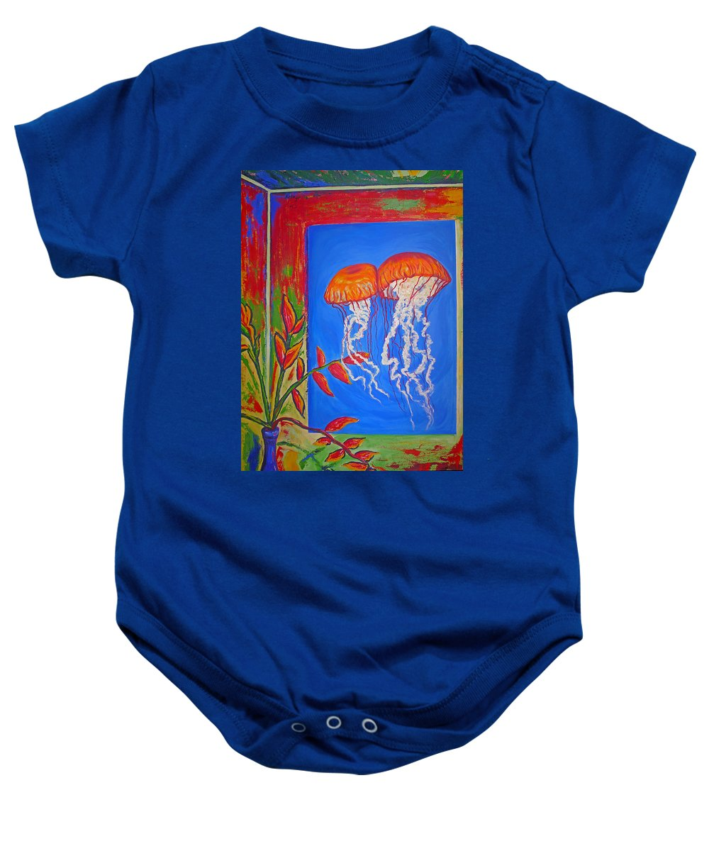 Jellyfish Baby Onesie featuring the painting Jellyfish With Flowers by Ericka Herazo