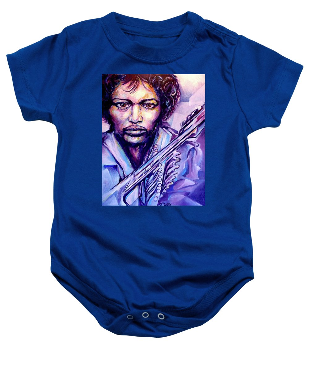 Baby Onesie featuring the painting Jimi by Lloyd DeBerry