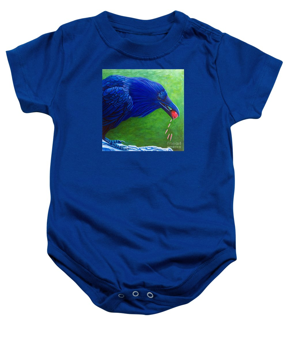 Raven Baby Onesie featuring the painting Joie De Vivre by Brian Commerford