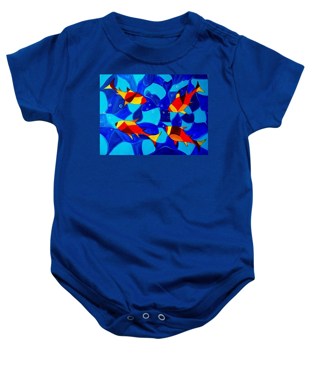 Abstract.acrylic.fish.bubbles.art.painting.modern.contemporary.popblue Red Bubbles Yellow Landscape Baby Onesie featuring the painting Joy Fish Abstract by Manjiri Kanvinde