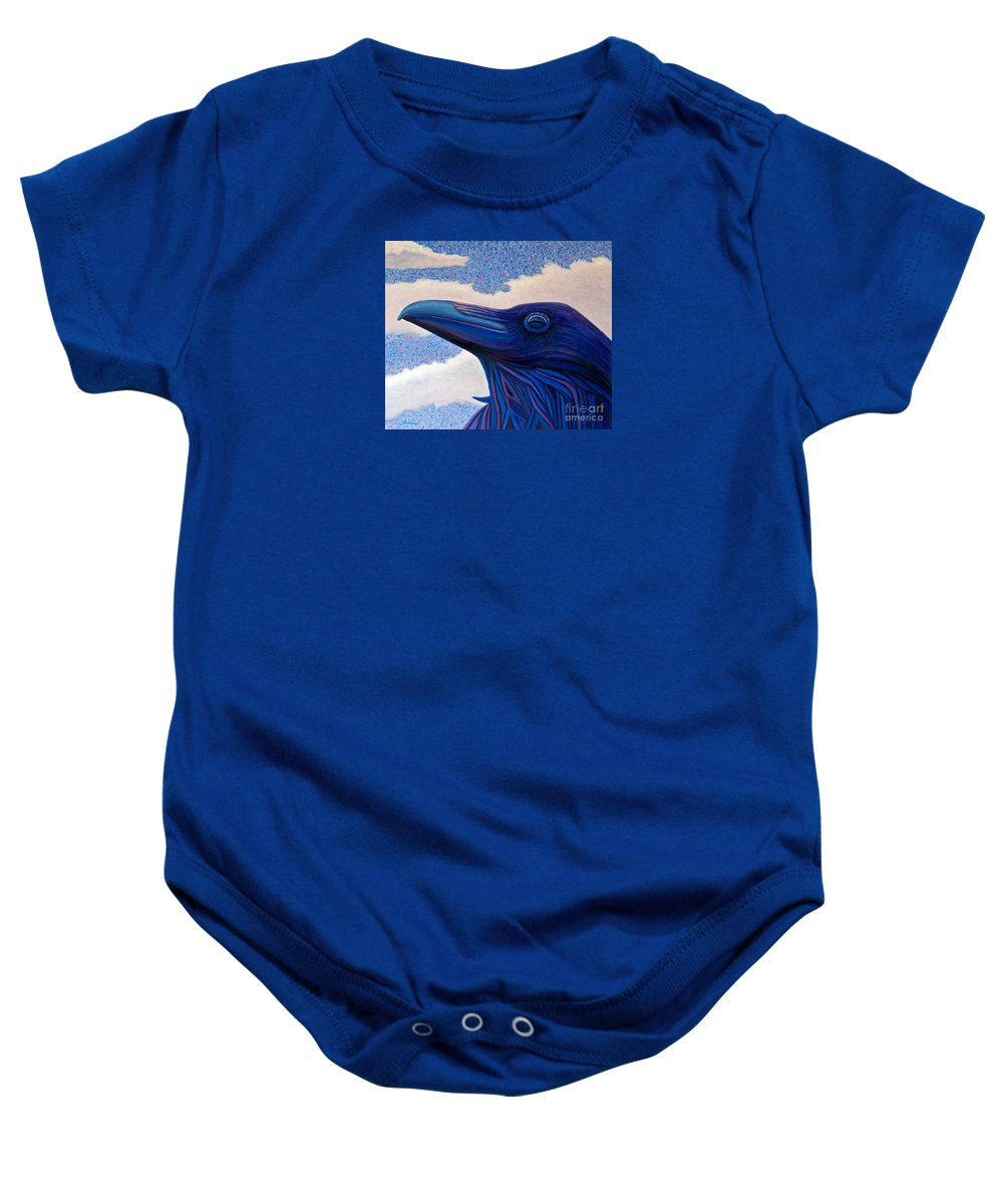 Raven Baby Onesie featuring the painting Just Once by Brian Commerford