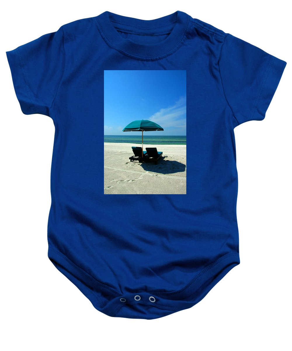 Beach Scene Baby Onesie featuring the photograph Just The Two Of Us by Susanne Van Hulst