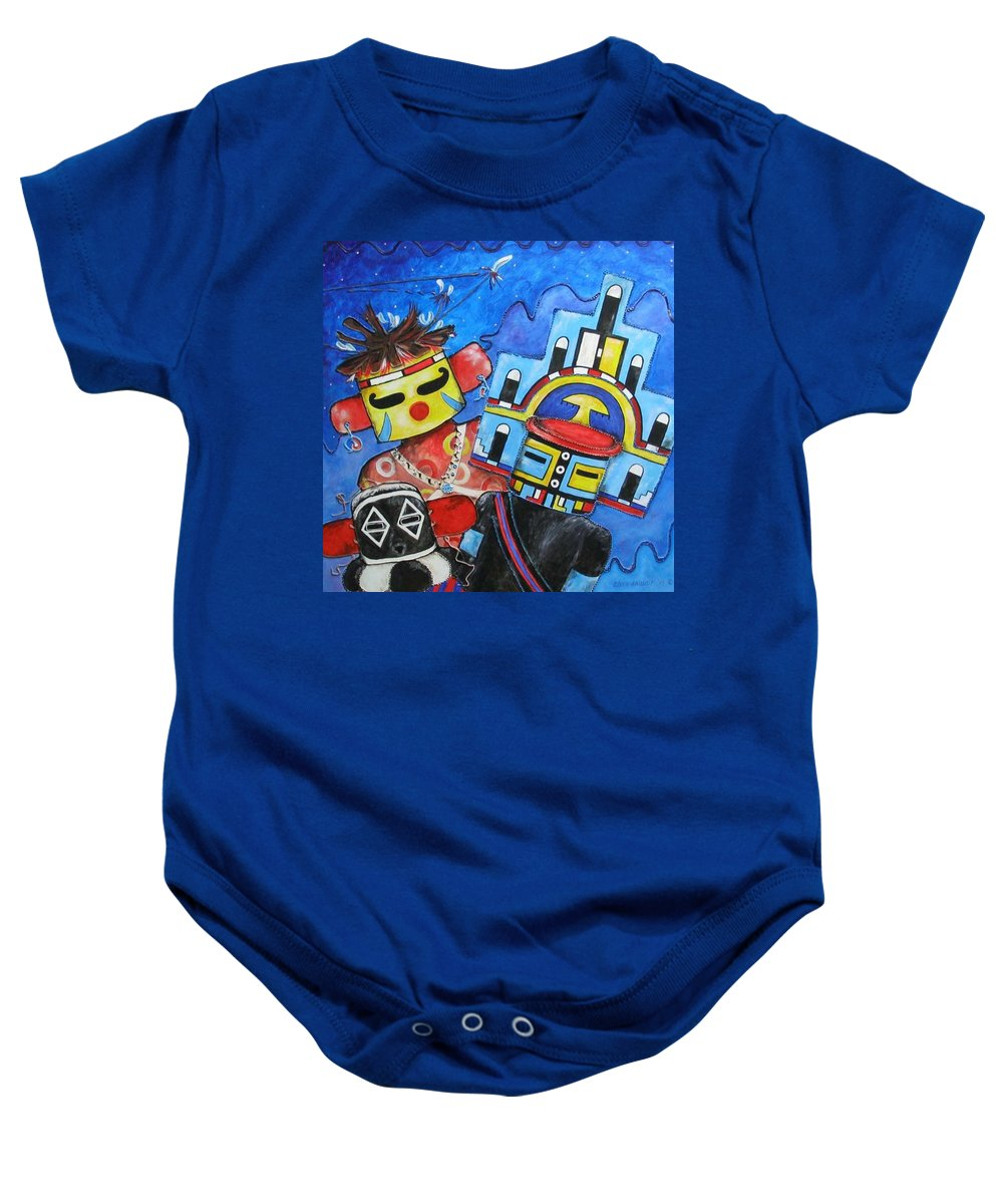 Native Baby Onesie featuring the painting Kachina Knights by Elaine Booth-Kallweit