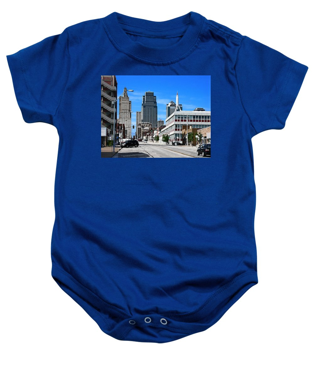 City Scape Baby Onesie featuring the photograph Kansas City Cross Roads by Steve Karol