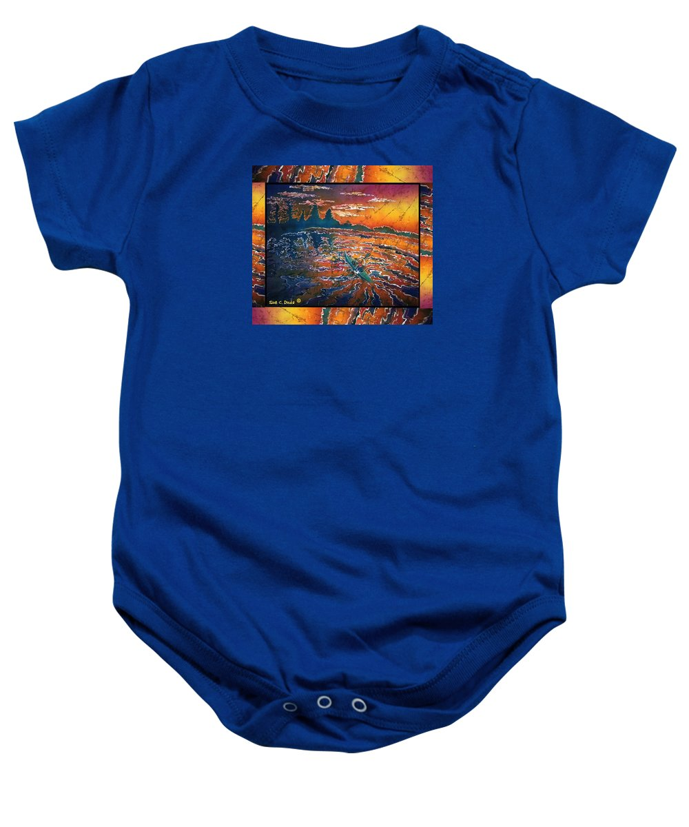 Kayak Baby Onesie featuring the painting Kayaking Serenity - Bordered by Sue Duda