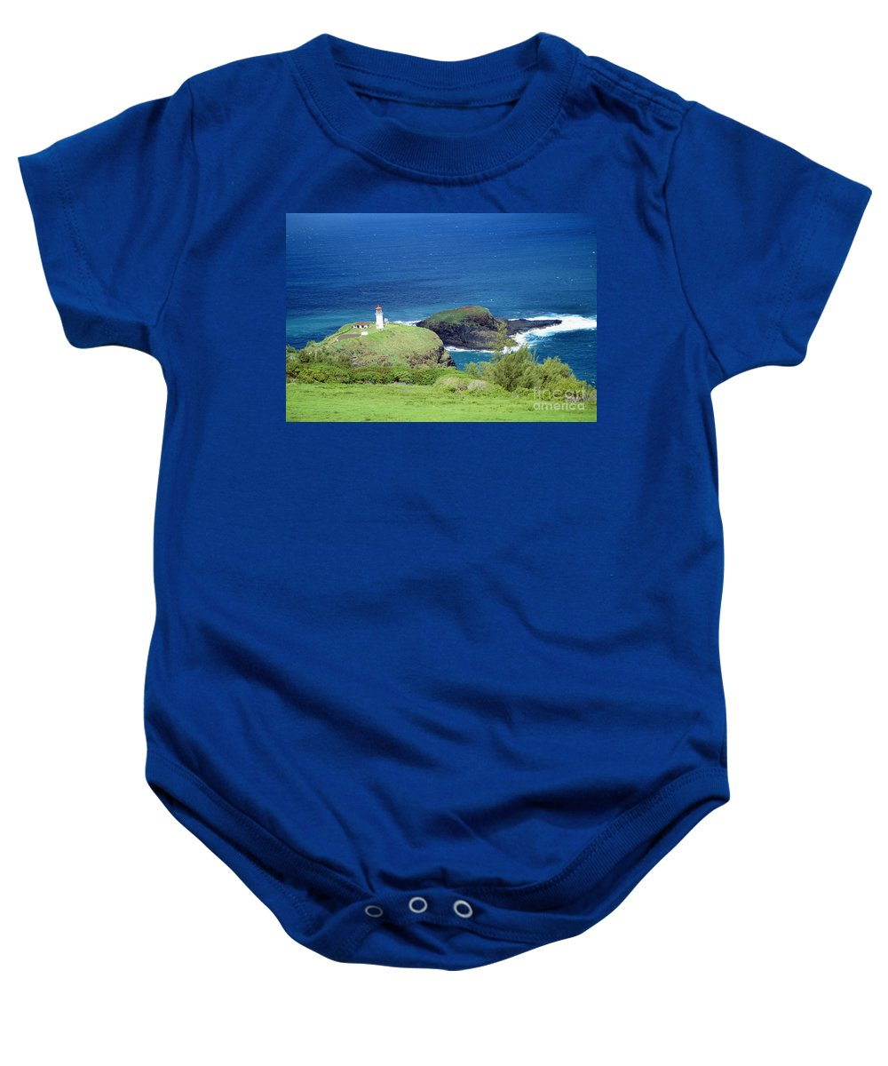 Aerial Baby Onesie featuring the photograph Kilauea Lighthouse by Rita Ariyoshi - Printscapes