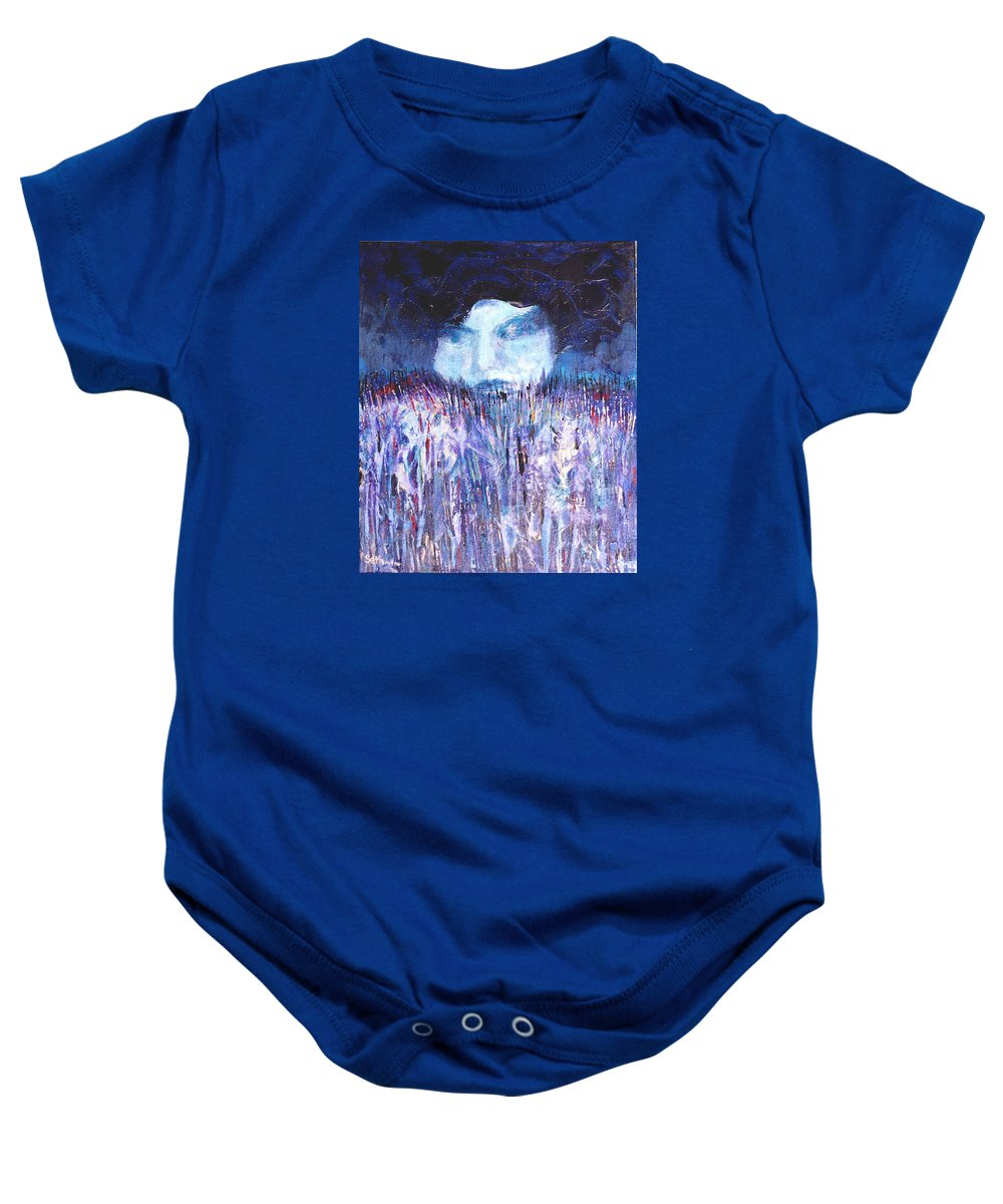 Kiss Of The Silver Moon Baby Onesie featuring the painting Kiss Of The Silver Moon by Seth Weaver