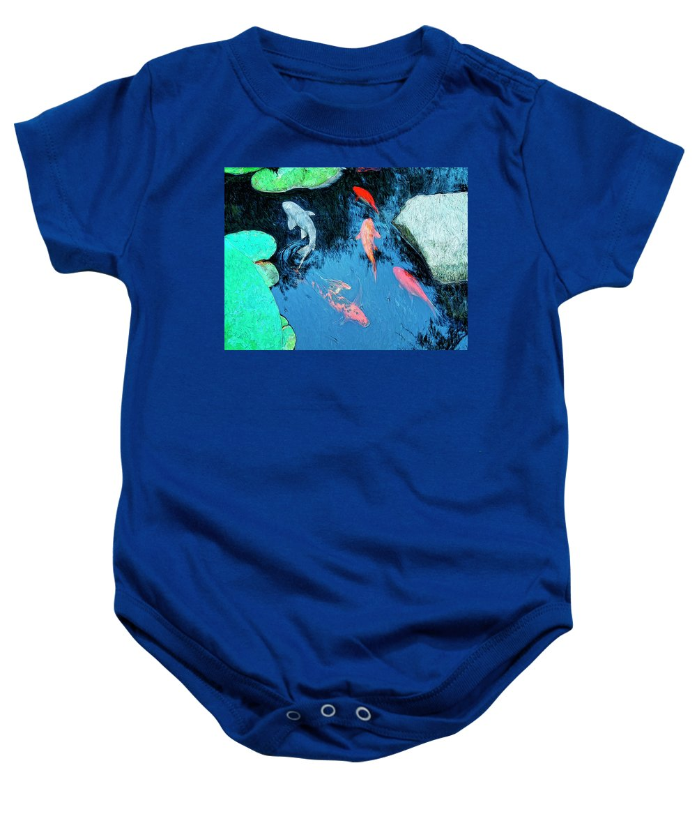Koi Baby Onesie featuring the painting Koi Pond 1 by Dominic Piperata