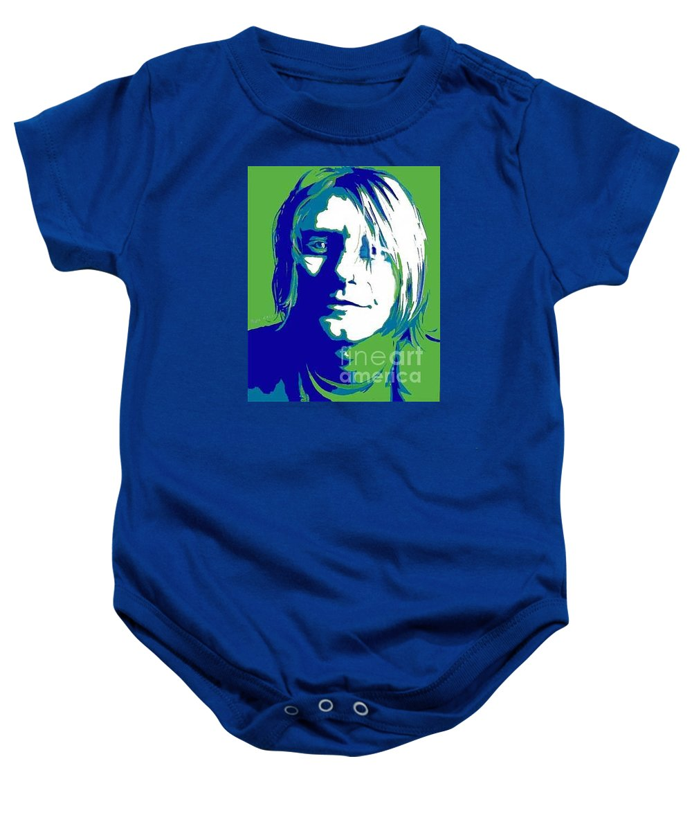 211c41fad Famous Musician Baby Onesie featuring the painting Kurt Cobain Nirvana by  Margaret Juul