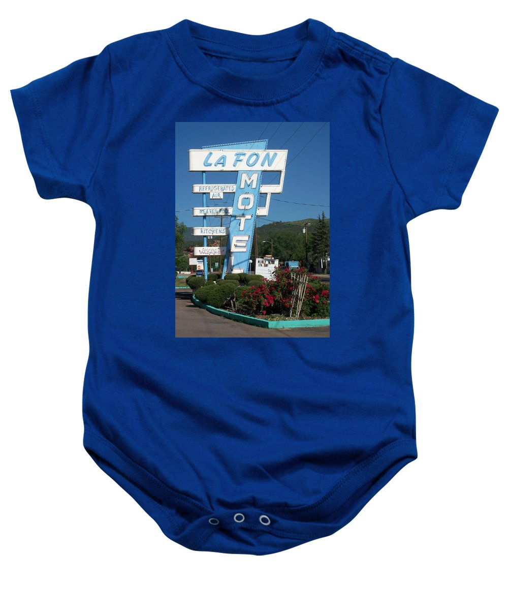 Vintage Motel Signs Baby Onesie featuring the photograph Lafon Motel by Anita Burgermeister