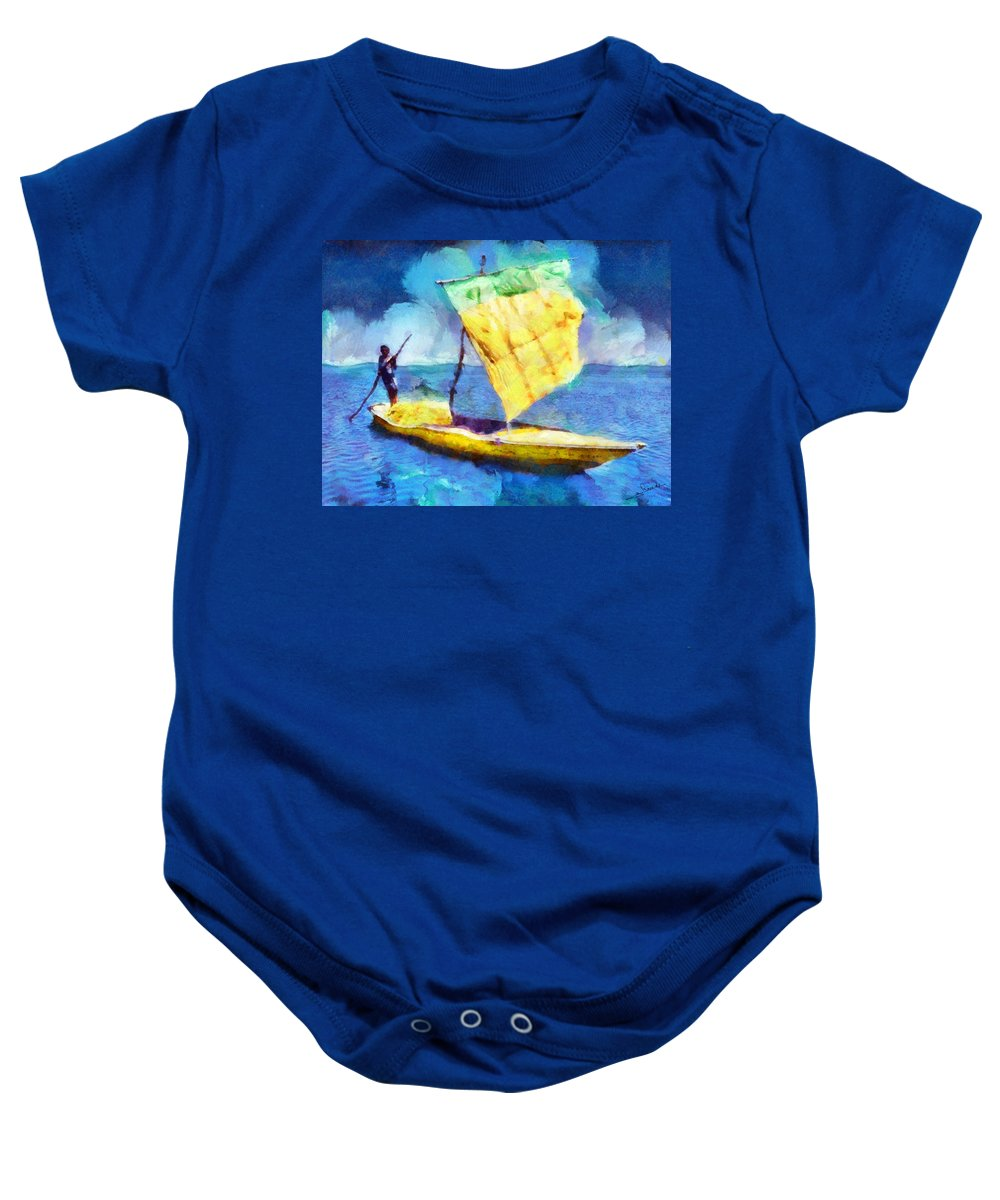 Rossidis Baby Onesie featuring the painting Lake Fayoum by George Rossidis