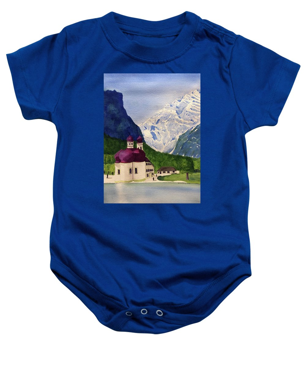 Germany Baby Onesie featuring the painting Lake Konigssee by Bonnie Young