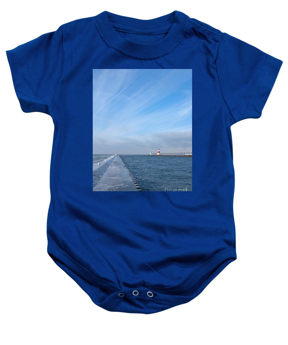 Pier Baby Onesie featuring the photograph Lake Michigan Winter by Ann Horn