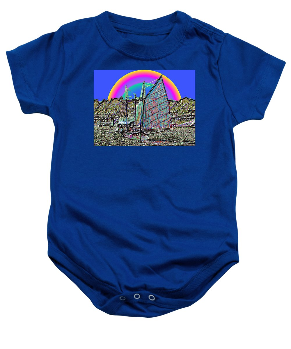 Seattle Baby Onesie featuring the photograph Lake Union Rainbow Sail by Tim Allen