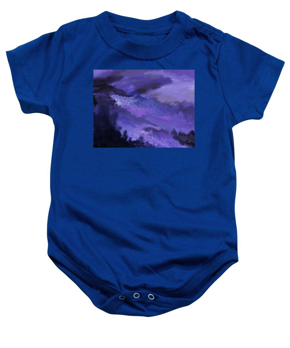 Fine Art Baby Onesie featuring the digital art Landscape In My Mind by David Lane