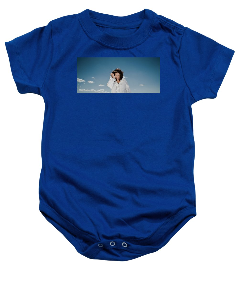 Woman Baby Onesie featuring the photograph Laughing Sky by Scott Sawyer