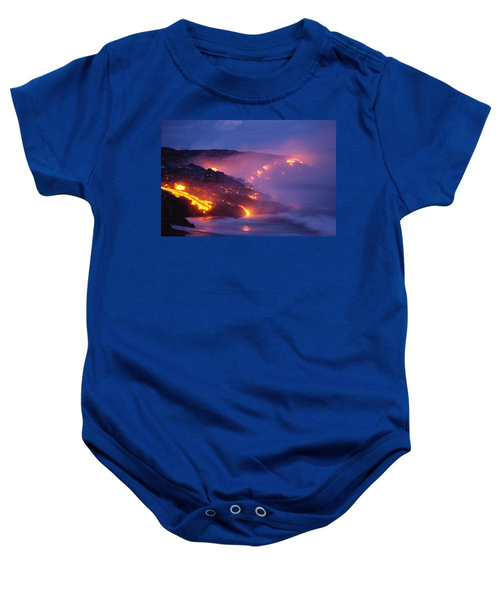 A'a Baby Onesie featuring the photograph Lava At Twilight by Peter French - Printscapes