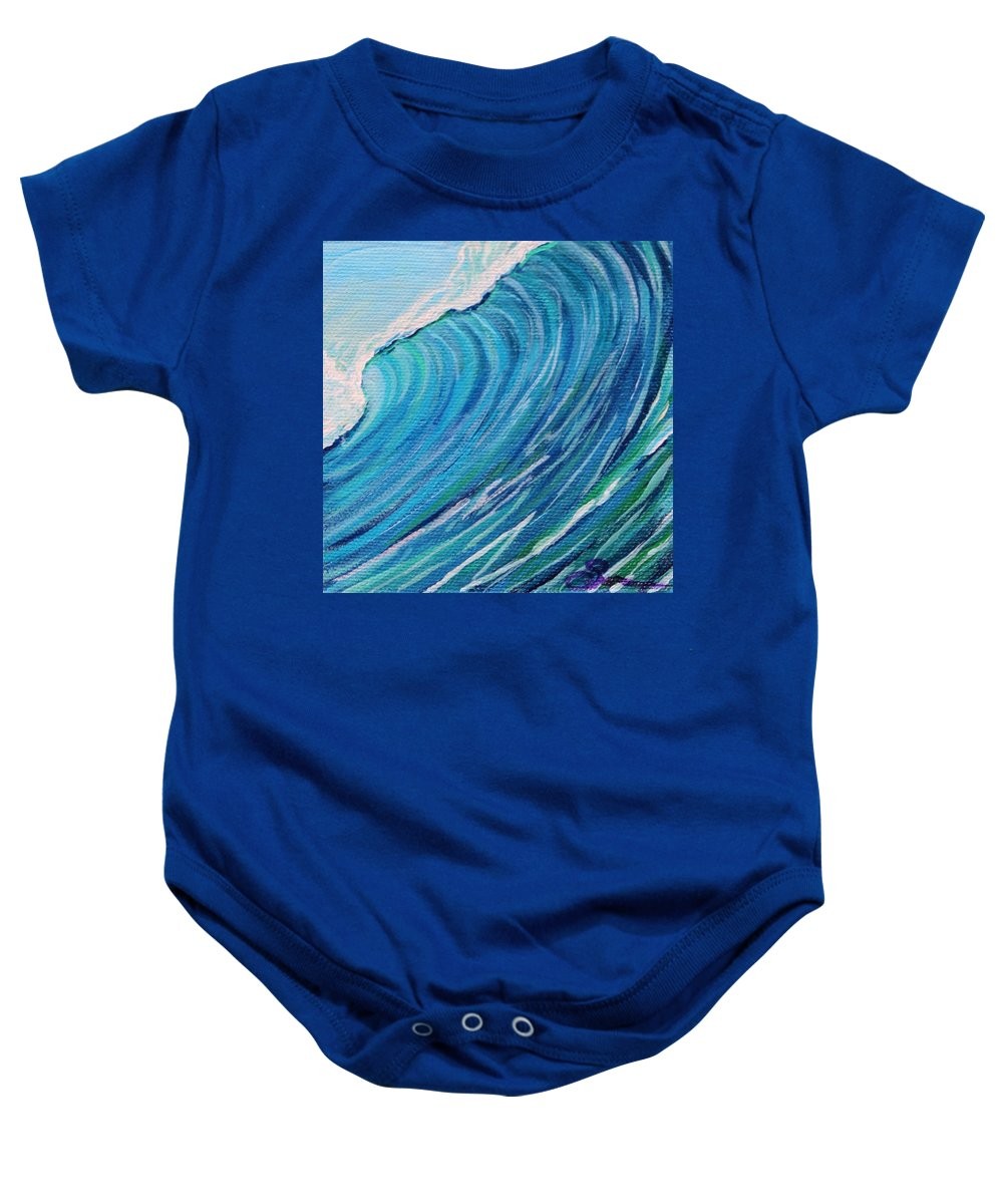 Surf Art Baby Onesie featuring the painting Lefthand Wall Of Water by Suzanne MacAdam