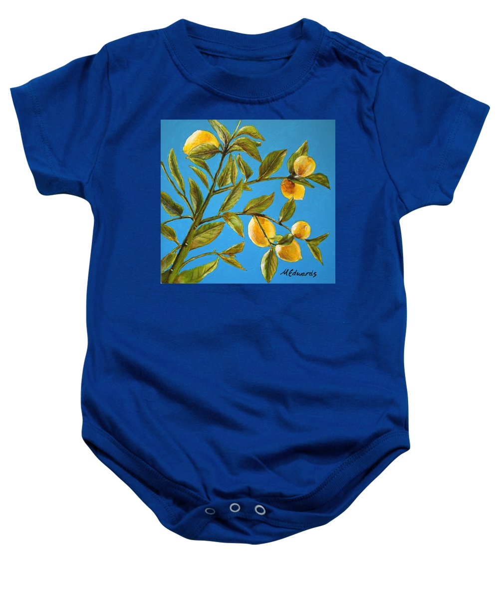 Lemons Baby Onesie featuring the painting Lemon Tree by Marna Edwards Flavell