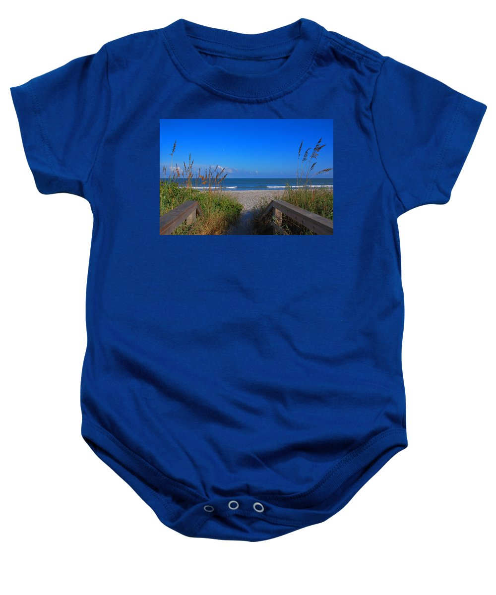Cocoa Beach Baby Onesie featuring the photograph Lets Go To The Beach by Susanne Van Hulst