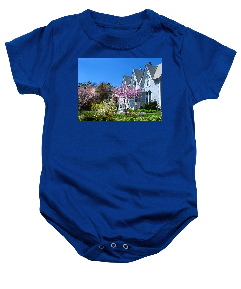 Landscape Baby Onesie featuring the photograph Liberty Carpenter Gothic by Steve Karol