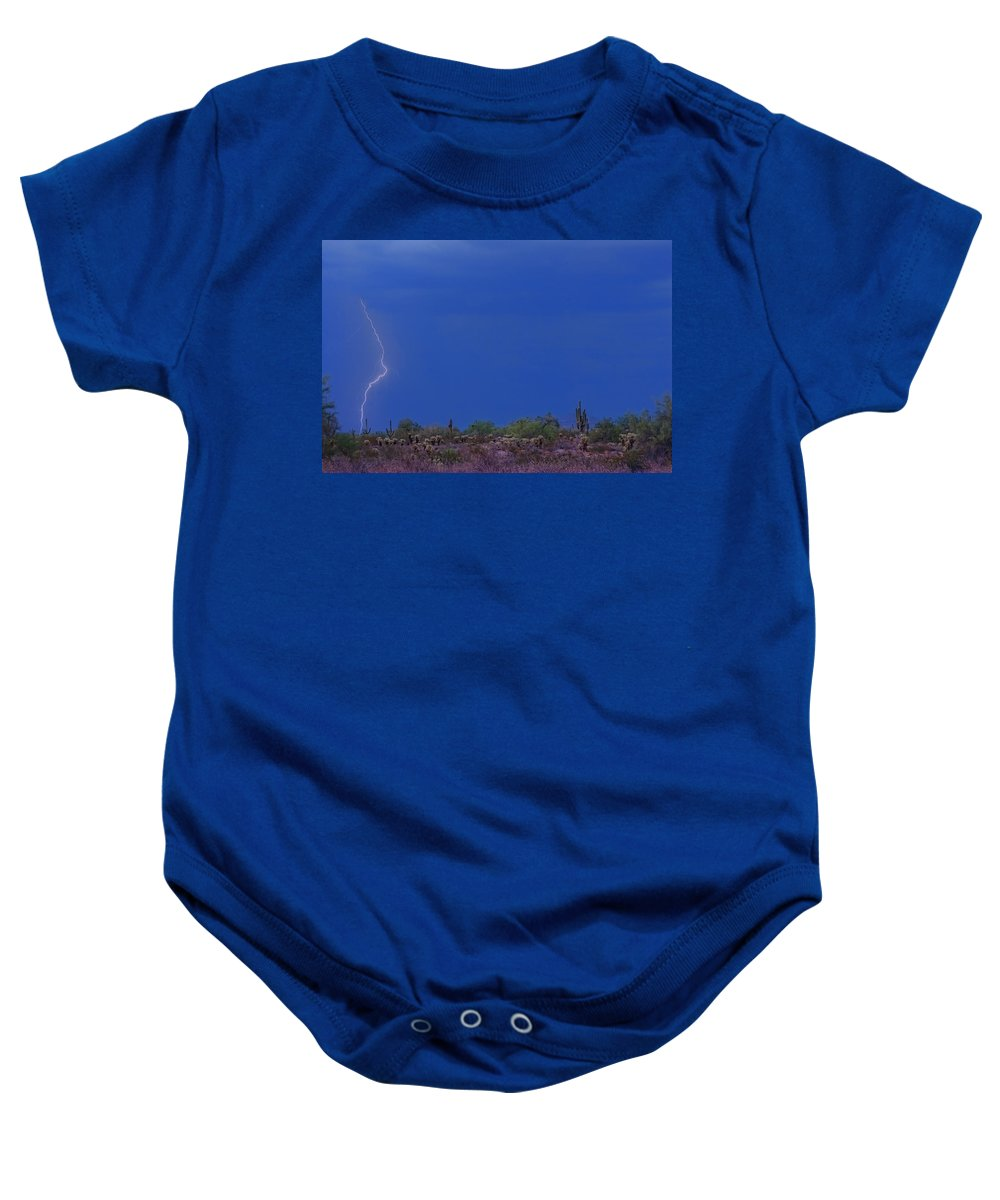Lightning Baby Onesie featuring the photograph Lightning Strike In The Desert by James BO Insogna