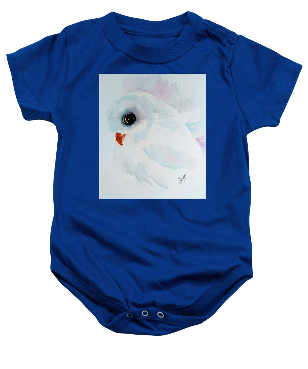 Owl Baby Onesie featuring the painting Li'l White Owl by Pat Yager