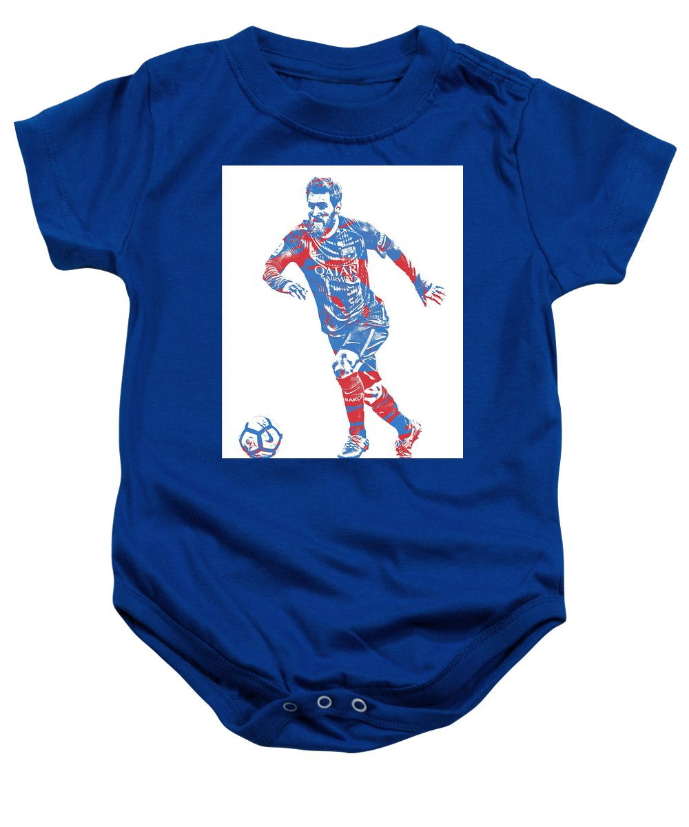 2d4fbe795b1 Lionel Messi Baby Onesie featuring the mixed media Lionel Messi F C  Barcelona Argentina Pixel Art 1