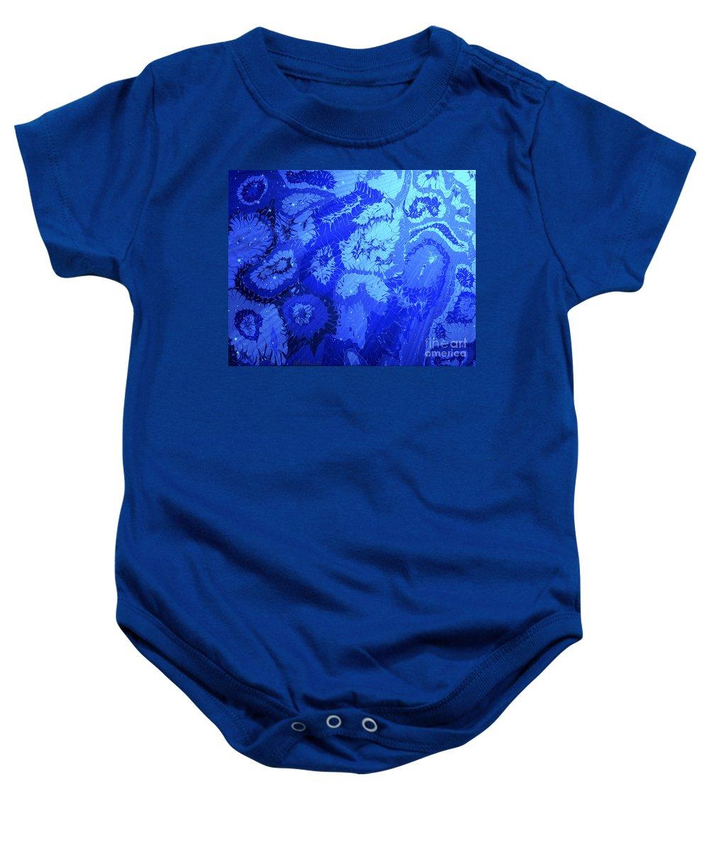 Keith Elliott Baby Onesie featuring the painting Liquid Blue Dream - V1lllt90 by Keith Elliott