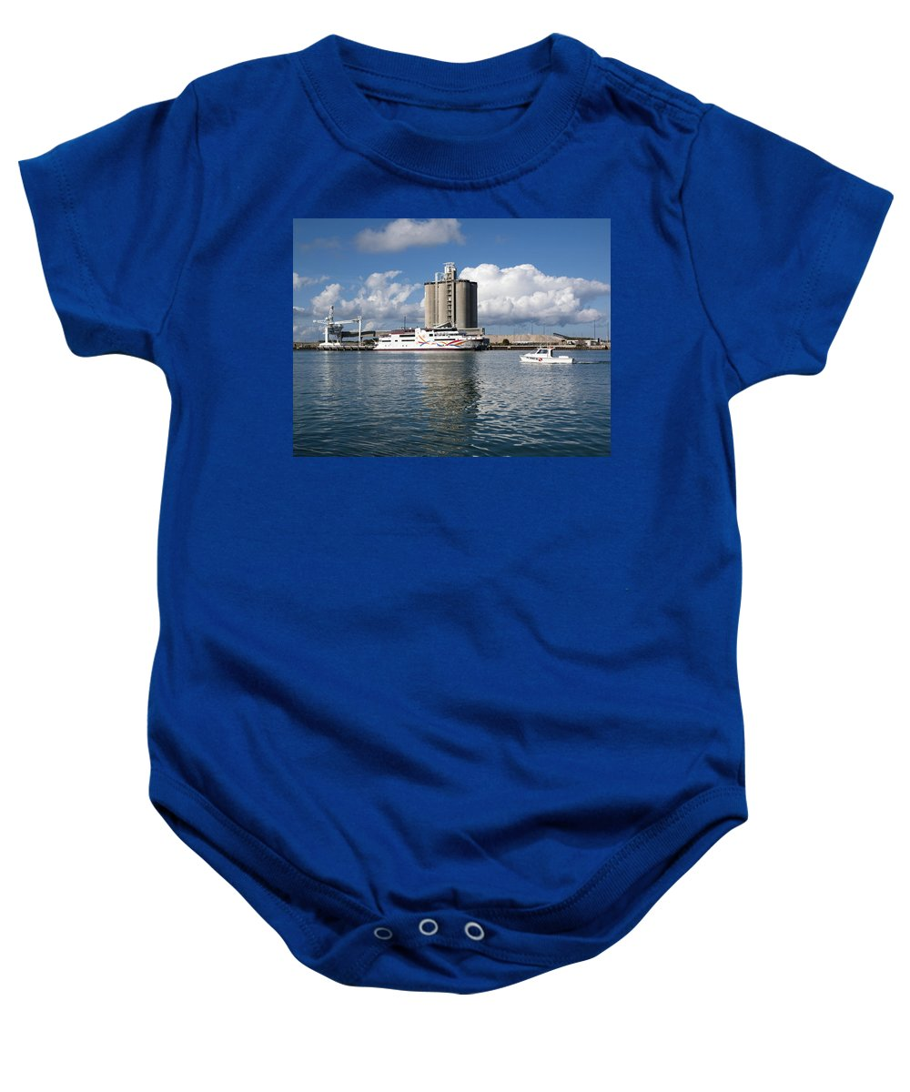 Boat Baby Onesie featuring the photograph Liquid Vegas Gambling Boat by Allan Hughes