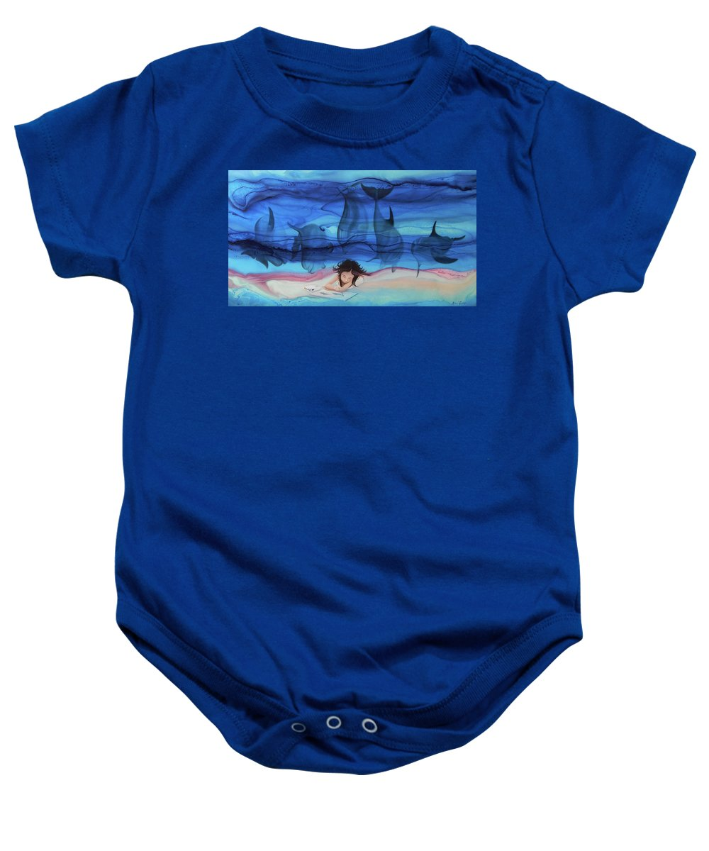 Little Girl Painter Baby Onesie featuring the painting Little Girl Painter II by Angel Ortiz