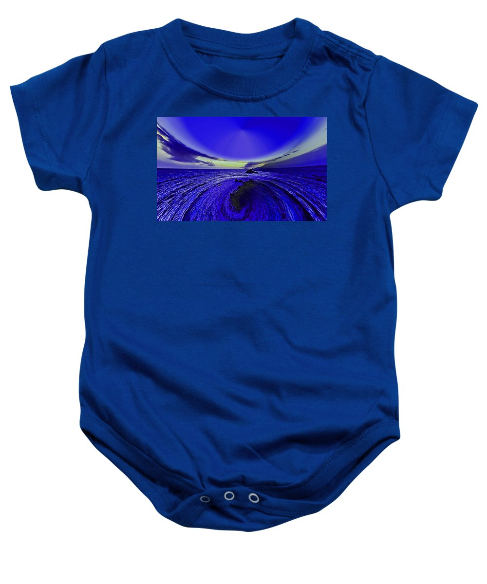 Little Baby Onesie featuring the photograph Little Planet Blue by Galeria Trompiz