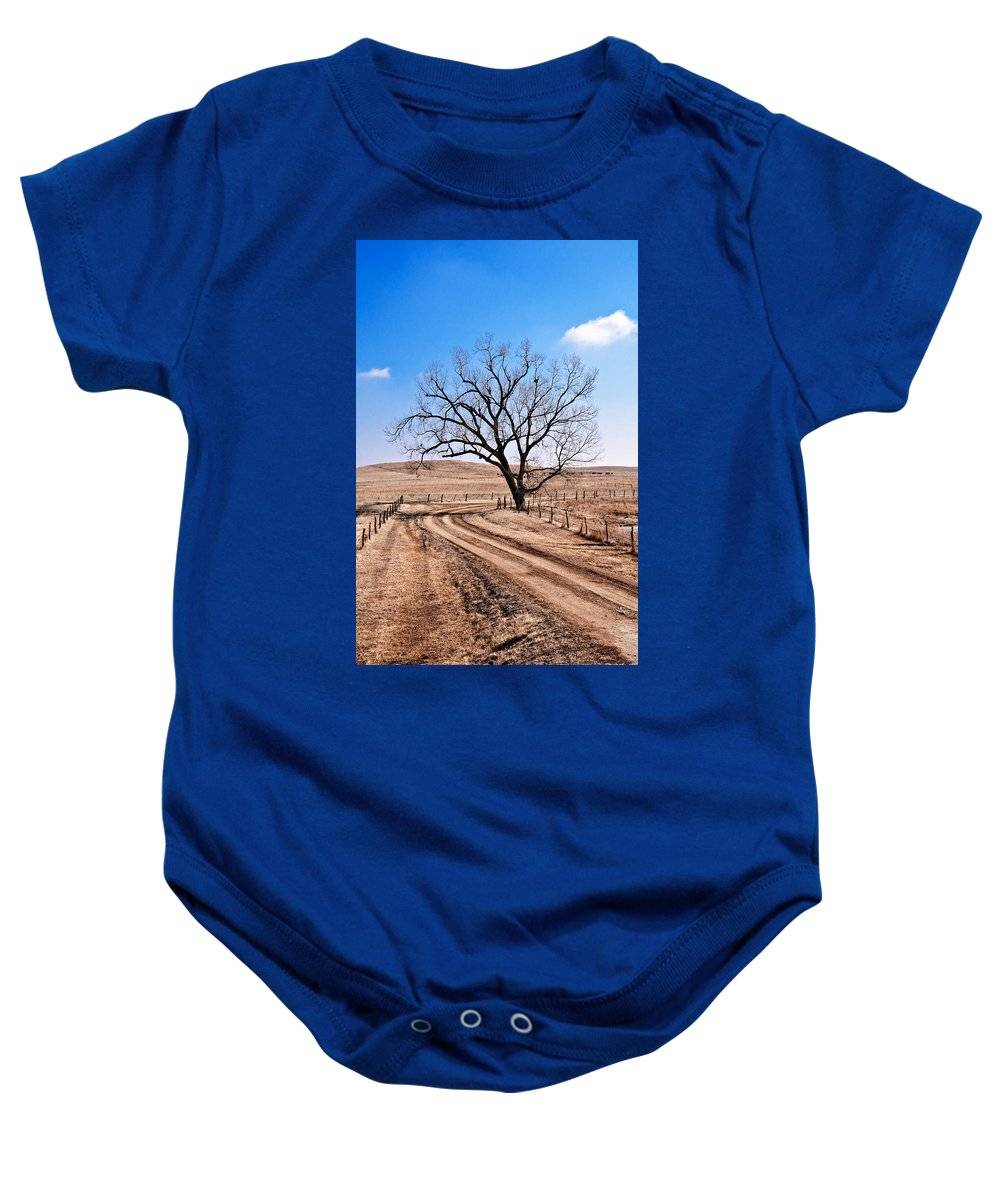 Flint Hills Baby Onesie featuring the photograph Lone Tree February 2010 by Eric Benjamin