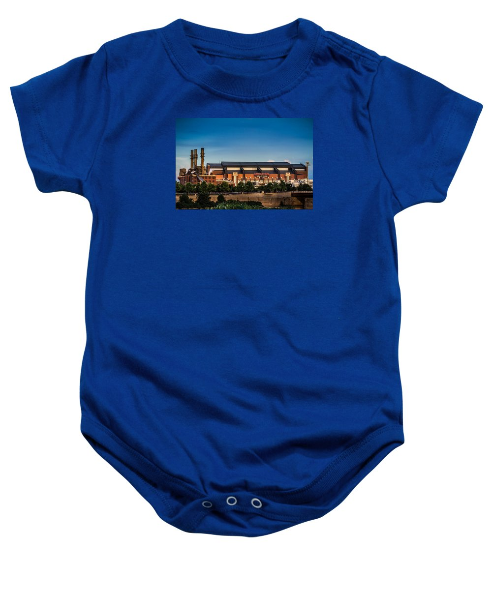 Lucas Oil Stadium Baby Onesie featuring the photograph Lucas Oil Stadium by Ron Pate