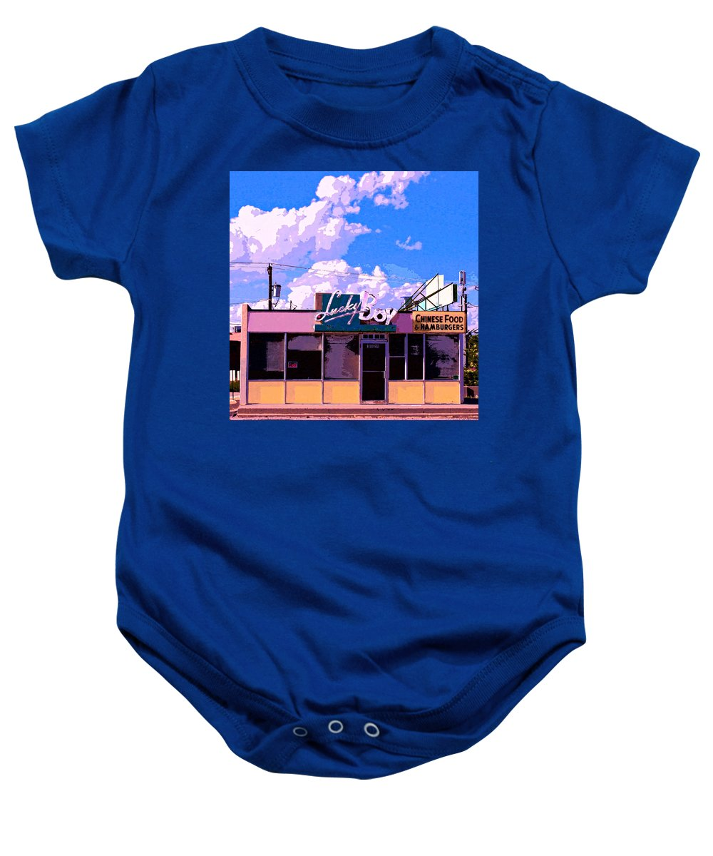 Diner Baby Onesie featuring the mixed media Lucky Boy by Dominic Piperata
