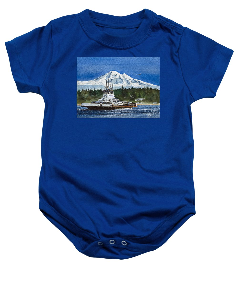 Ferry Boat Fine Art Print Baby Onesie featuring the painting Lummi Island Ferry And Mt Baker by James Williamson