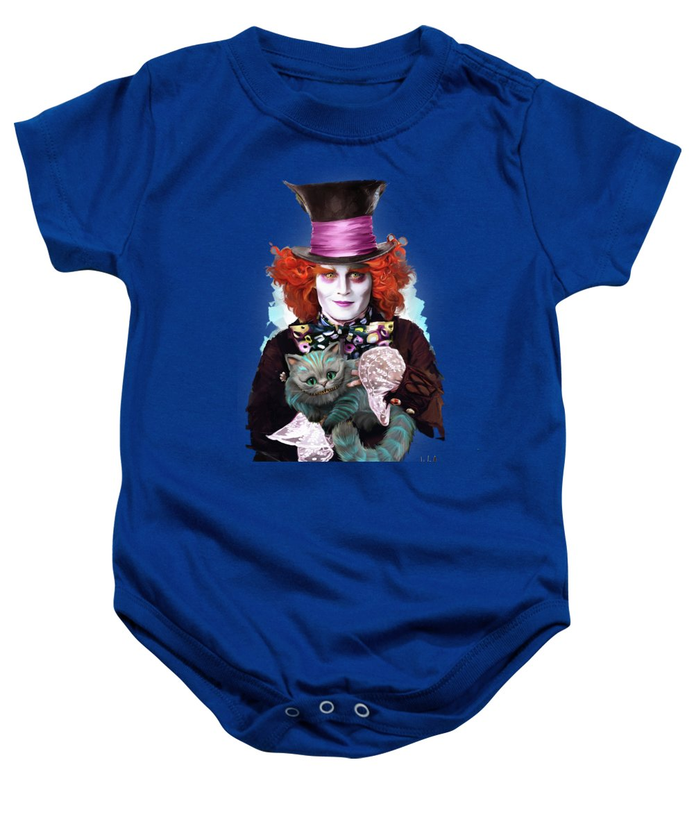 Mad Hatter Baby Onesie featuring the painting Mad Hatter And Cheshire Cat by Melanie D
