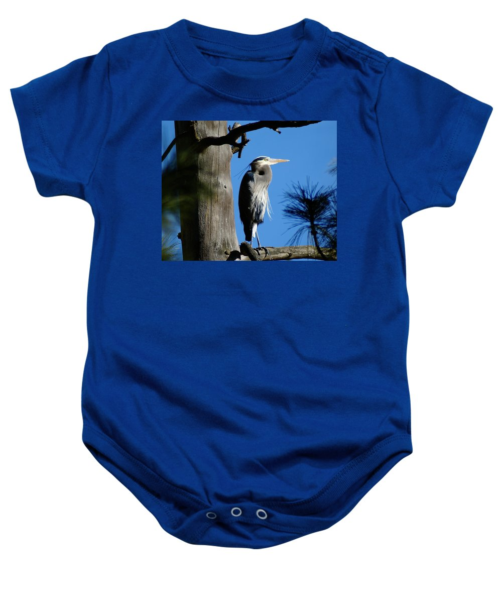 Spokane Baby Onesie featuring the photograph Majestic Great Blue Heron by Ben Upham III