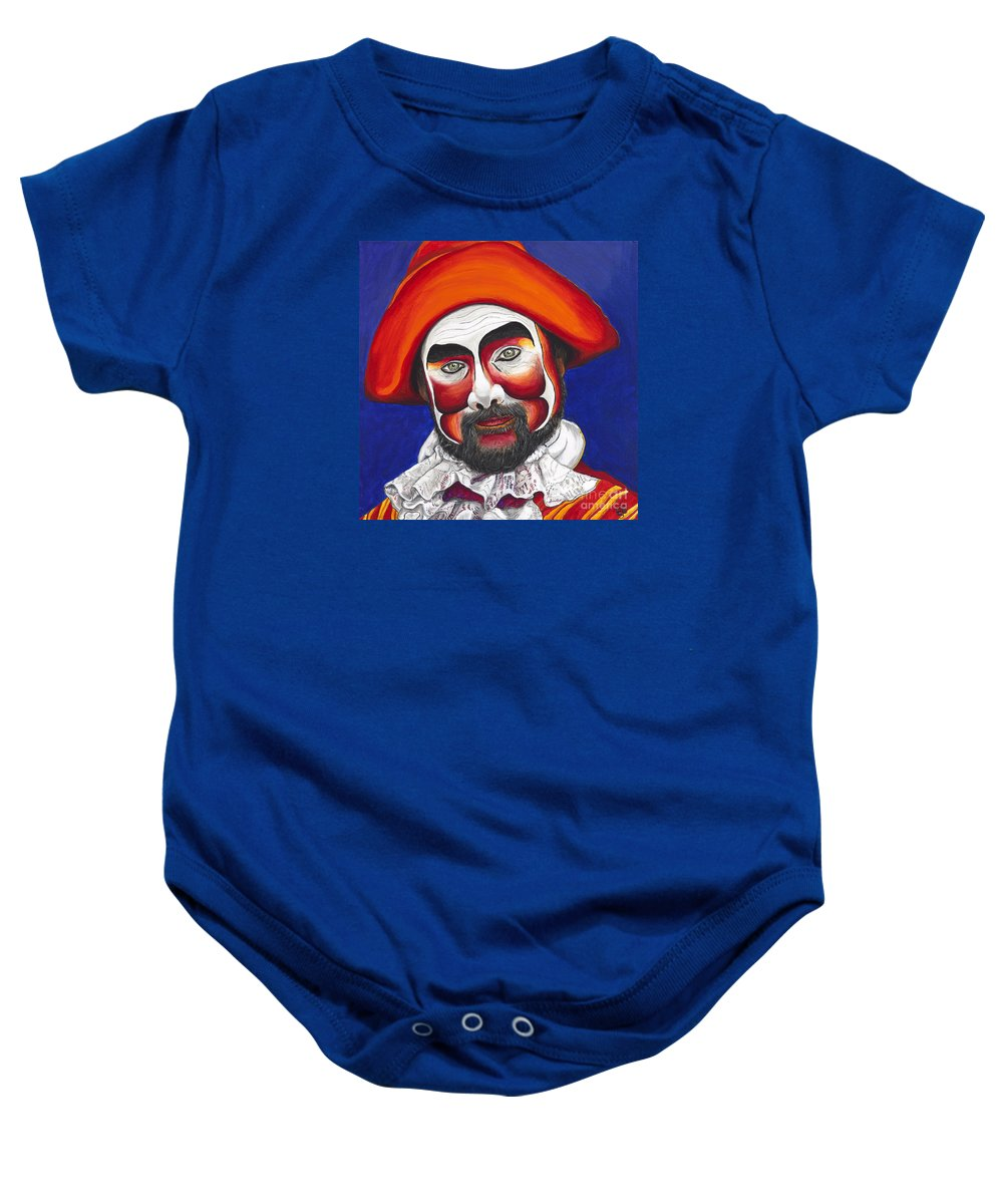 Pirate Baby Onesie featuring the painting Male Pirate Carnival Figure by Patty Vicknair