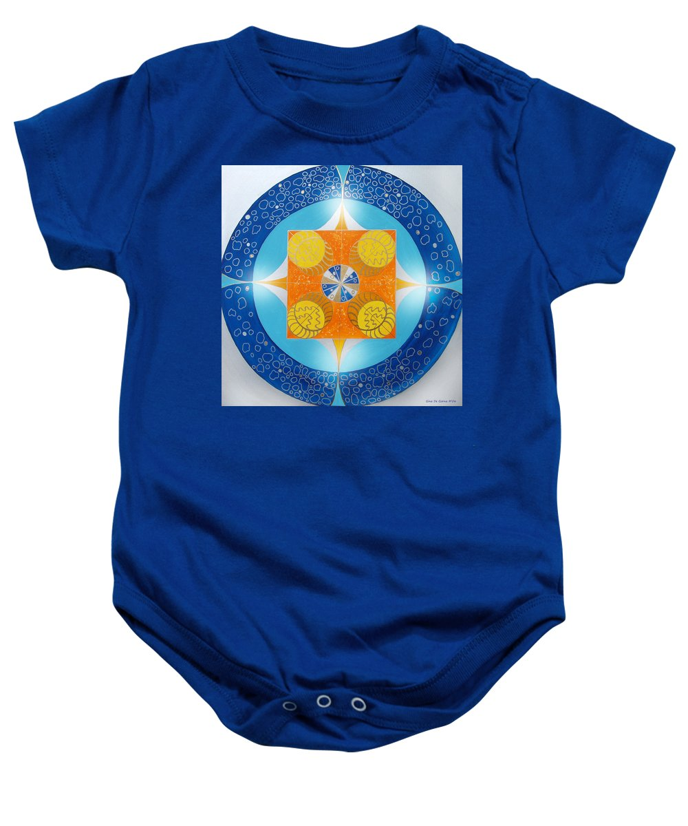 Mandala Baby Onesie featuring the painting Mandala 15 by Gina De Gorna