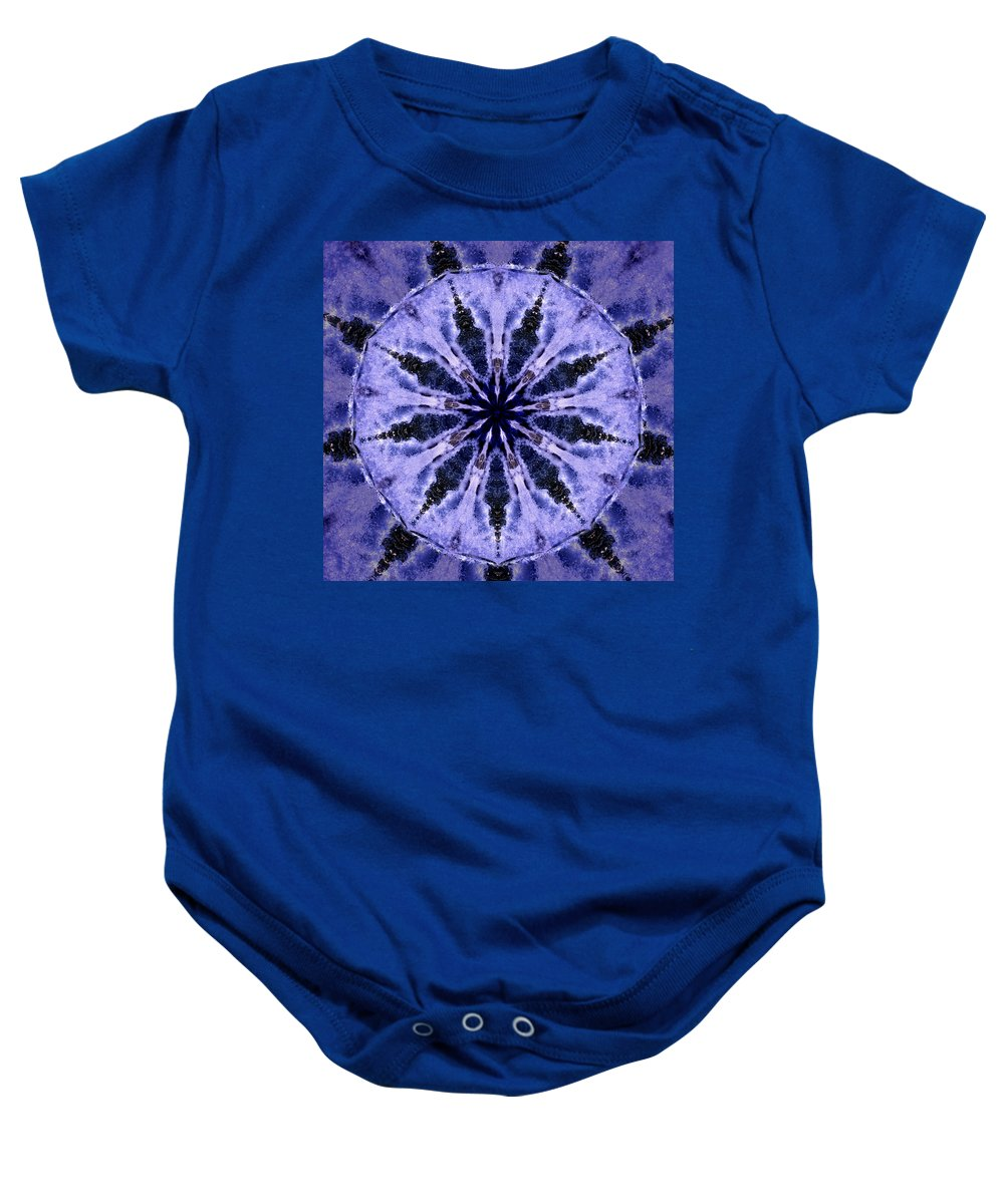 Mandala Baby Onesie featuring the digital art Mandala Ocean Wave by Nancy Griswold