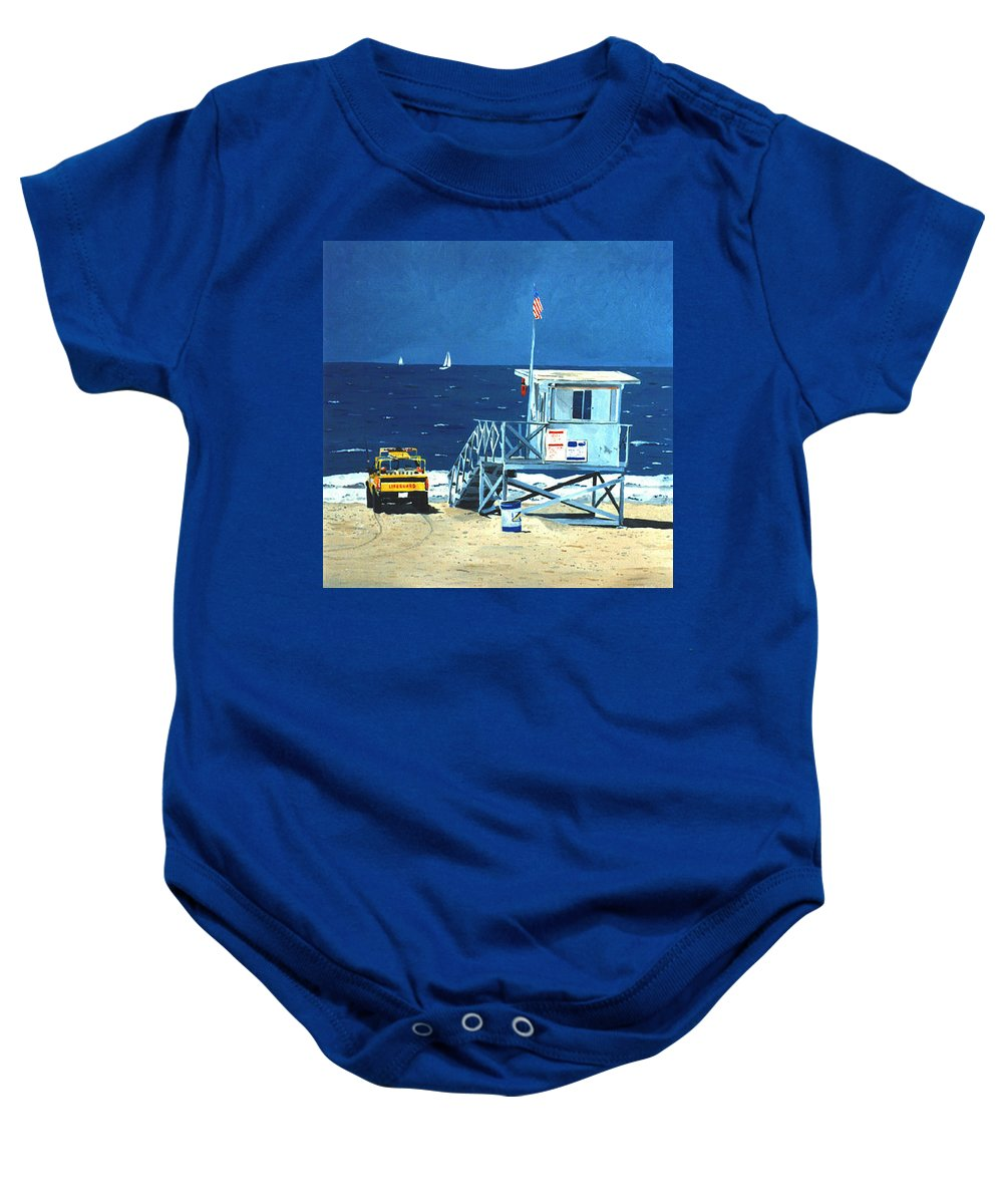 Modern Baby Onesie featuring the painting Manhattan Beach Lifeguard Station by Lance Headlee