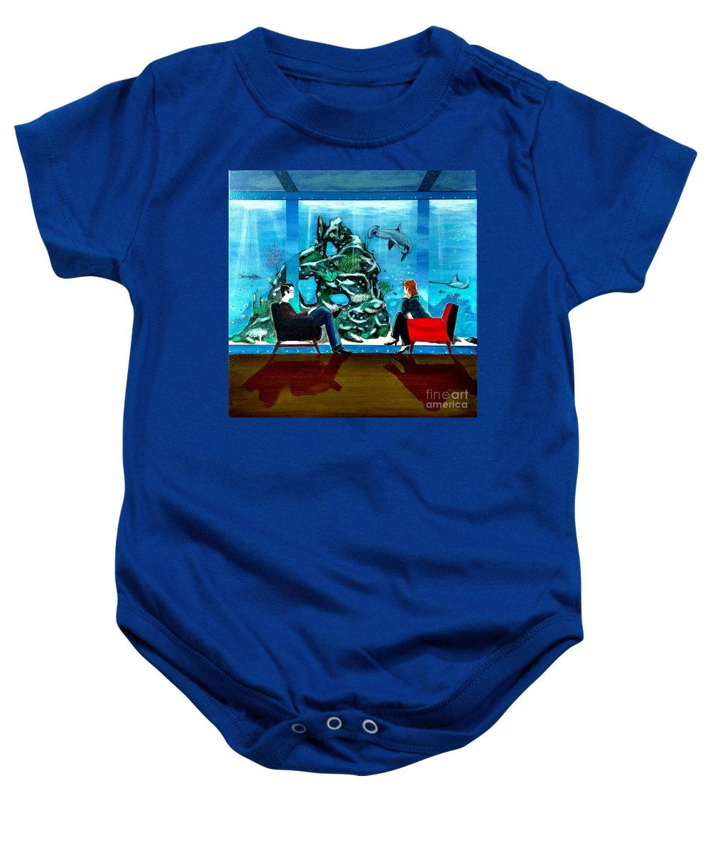 Johnlyes Baby Onesie featuring the painting Marinelife Observing Couple Sitting In Chairs by John Lyes