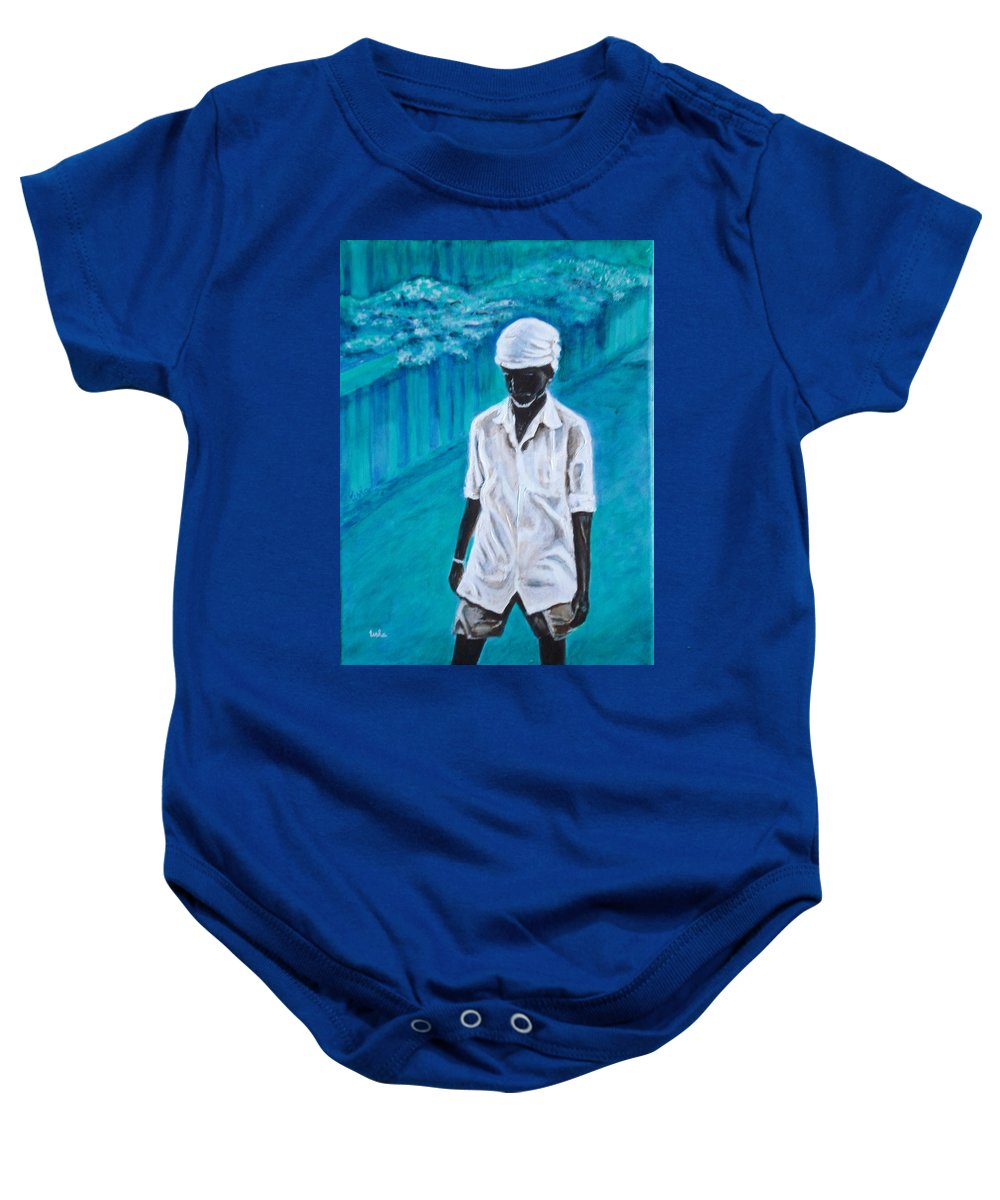 Usha Baby Onesie featuring the painting Mason by Usha Shantharam
