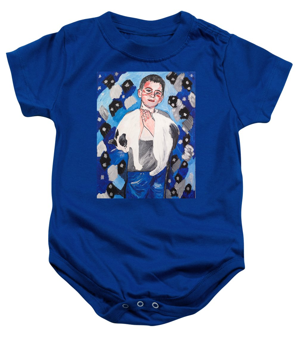 Portrait Baby Onesie featuring the painting Max Holding Snowflake by Valerie Ornstein