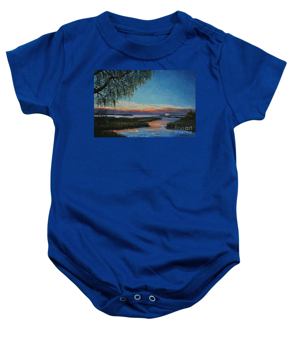 Sunset Baby Onesie featuring the painting May River Sunset by Stanton Allaben