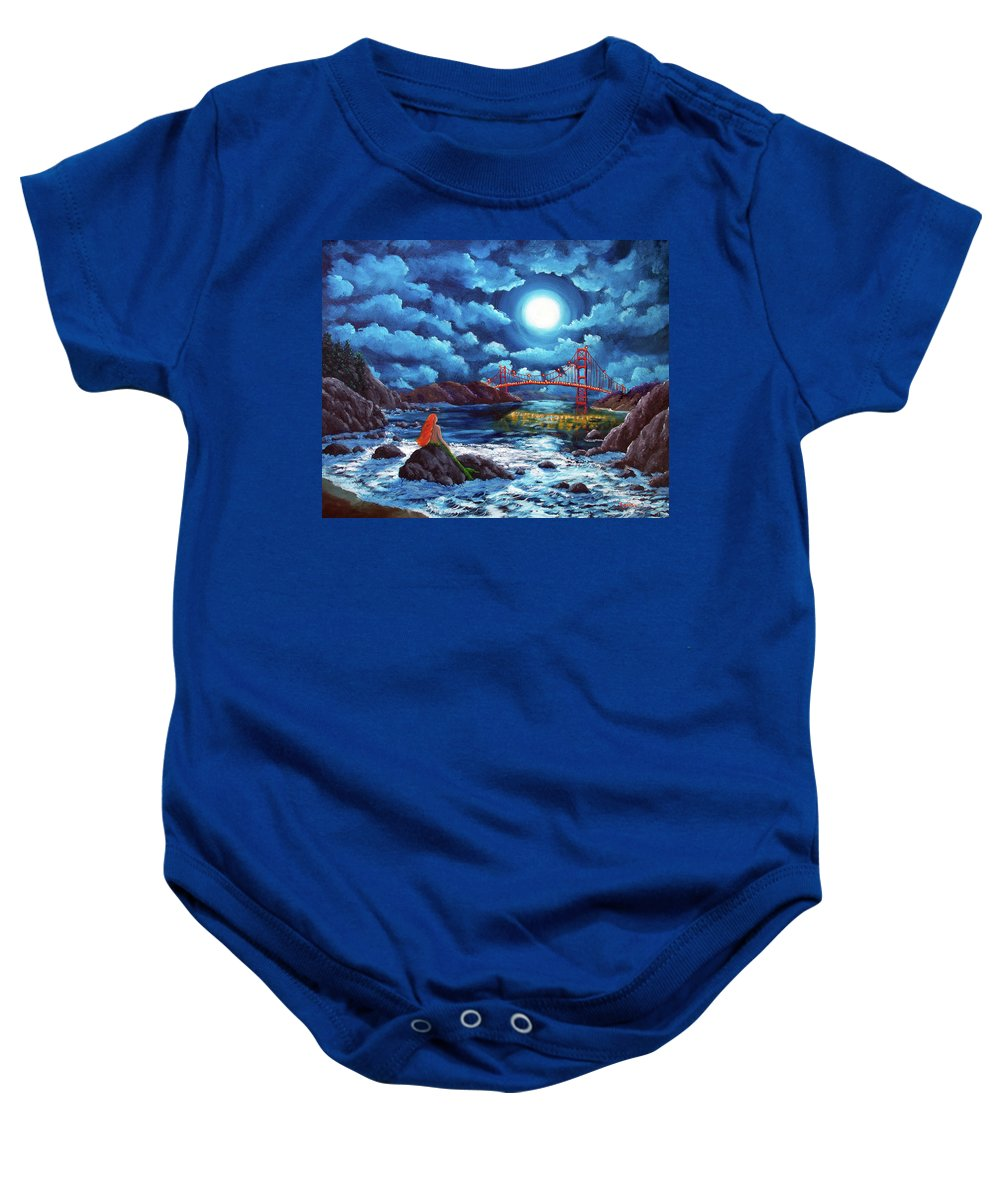 Painting Baby Onesie featuring the painting Mermaid At The Golden Gate Bridge by Laura Iverson