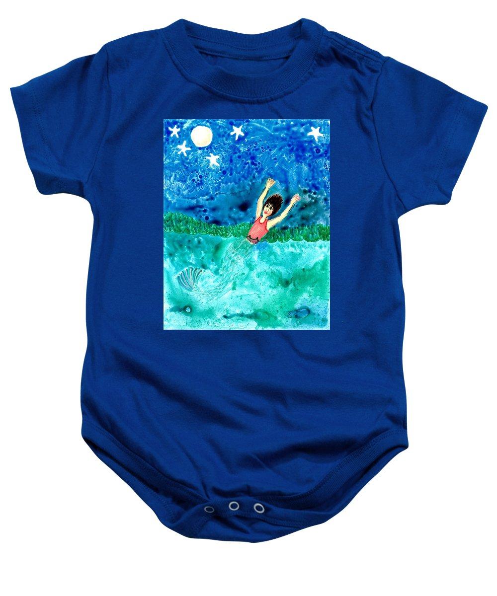 Sue Burgess Baby Onesie featuring the painting Mermaid Metamorphosis by Sushila Burgess