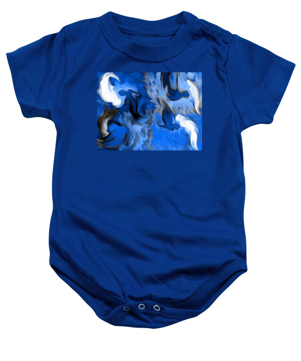 Mermaids Baby Onesie featuring the digital art Mermaids by Shelley Jones