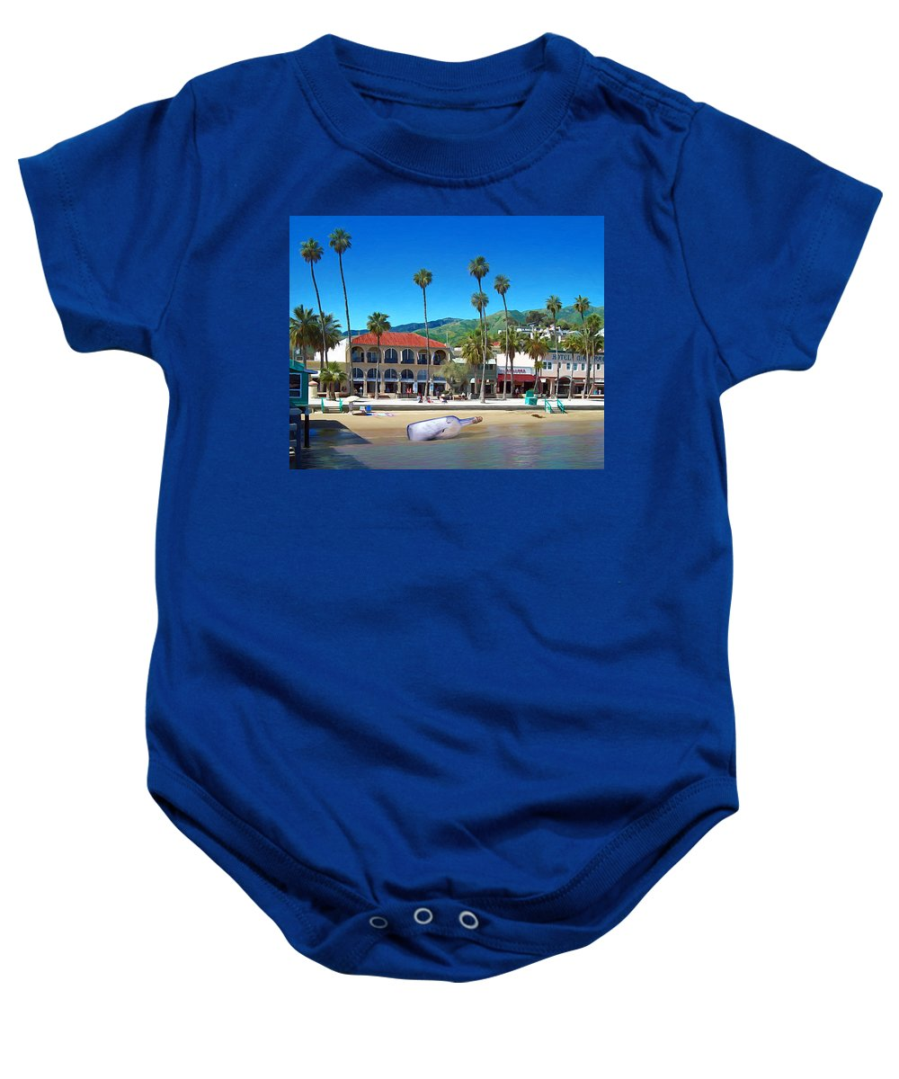 Avalon Baby Onesie featuring the digital art Message In A Bottle by Snake Jagger
